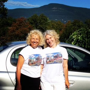 Mary Anne Erickson and Jen Dragon at the start of their roadtrip across the United States via Route 66.